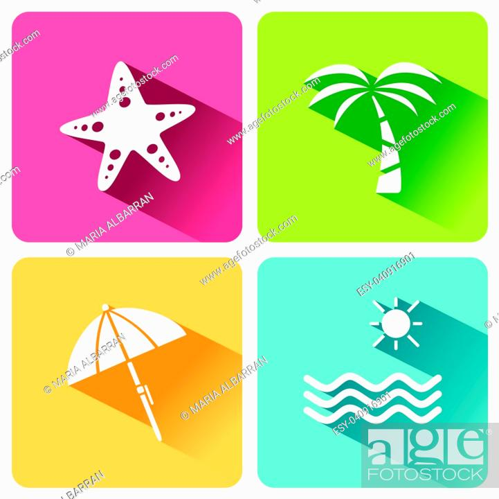 Vecteur de stock: Four summer and tourism icons set with shade. First group. Vector illustration.
