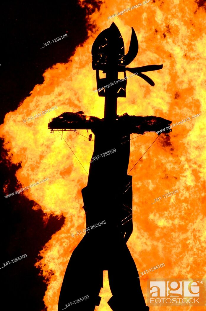 Stock Photo: silhouette of the wicker man burned at the Oxford Round Table Fireworks Display, 2010, made by Dan Barton, Artist, Editorial use only.