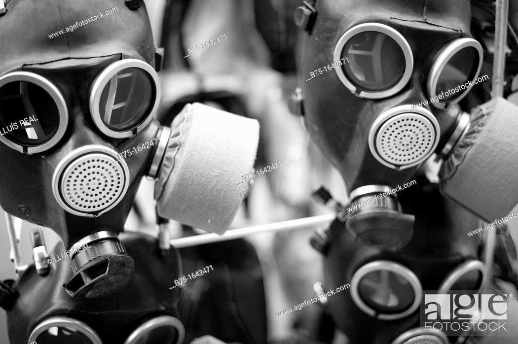 Stock Photo: old gas masks made of flexible material to protect the health noxious gases.