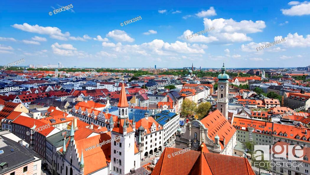 Stock Photo: Munich city center and old town skyline view to old town, roofs and spires.