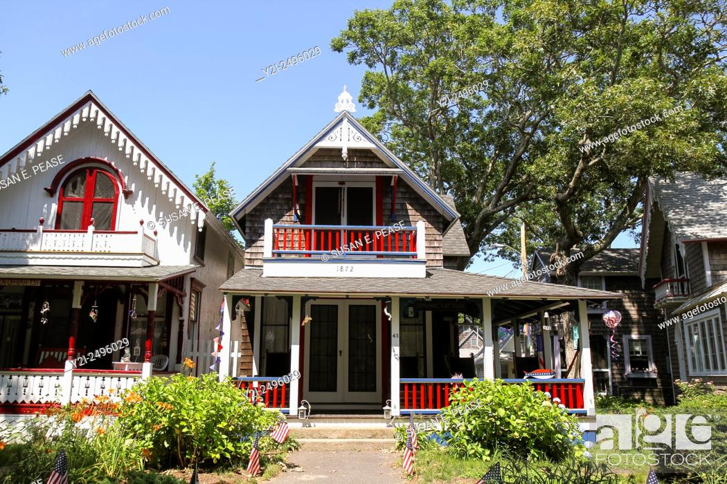 Stock Photo: Gingerbread cottages, Oak Bluffs, Martha's Vineyard, Massachusetts, United States.