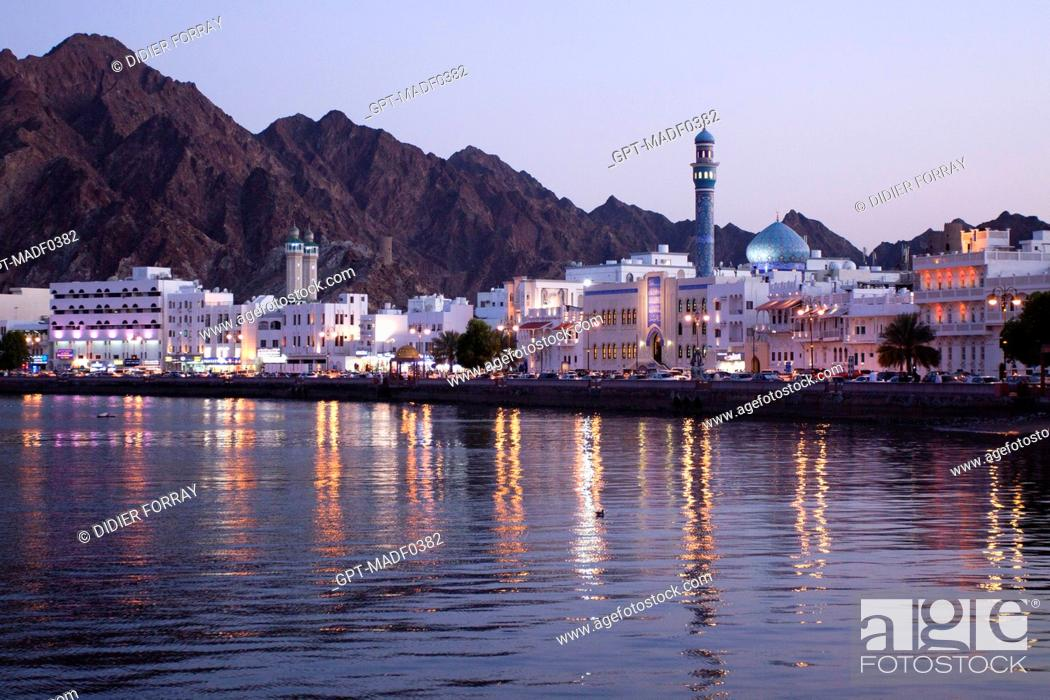 Stock Photo: THE COAST ROAD IN MUTTRAH AT NIGHT, MUSCAT, SULTANATE OF OMAN, MIDDLE EAST.