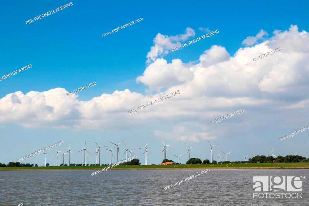 Stock Photo: Wind park near Brunsbüttel at the end of Kiel Canal (Nord-Ostsee-Kanal) at Brunsbüttel, Kreis Dithmarschen, Schleswig-Holstein.