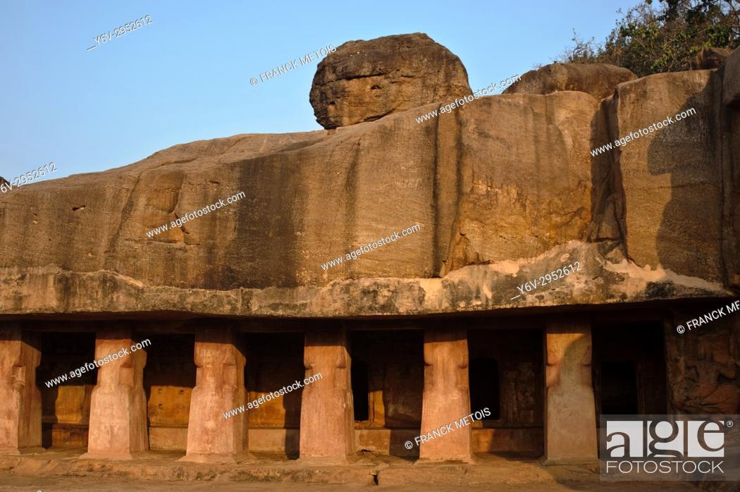 "Stock Photo: Udayagiri caves ( near Bhubaneswar, India). These particular caves are called """"rani gumpha"""". Khandagiri and Udayagiri are two hills containing buddhist and."