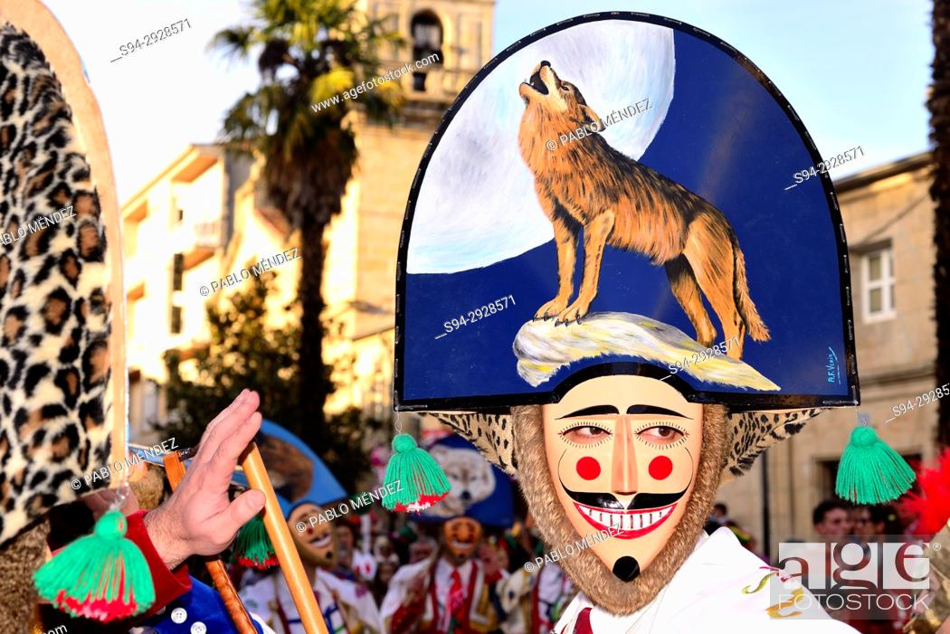 "Stock Photo: Cigarrons of Verin, mask of the Entroido """"carnival"""" in Verin, Orense, Spain."