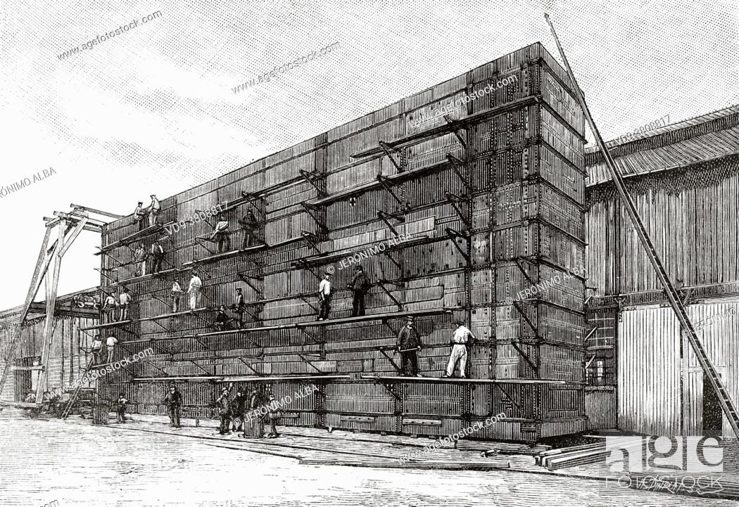 Stock Photo: Construction in Nantes the lock gates of the Panama Canal, France. Europe. Old 19th century engraved illustration from La Nature 1889.