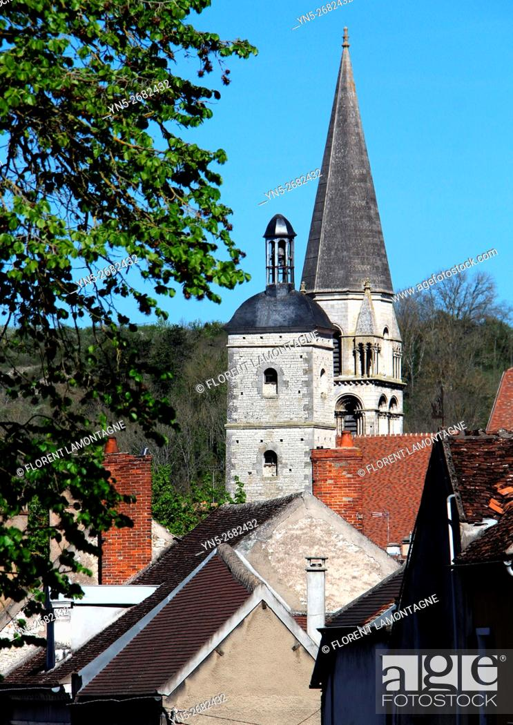 Stock Photo: France, view on the stiple of the church of Vermenton in Yonne departement in Burgundy region.