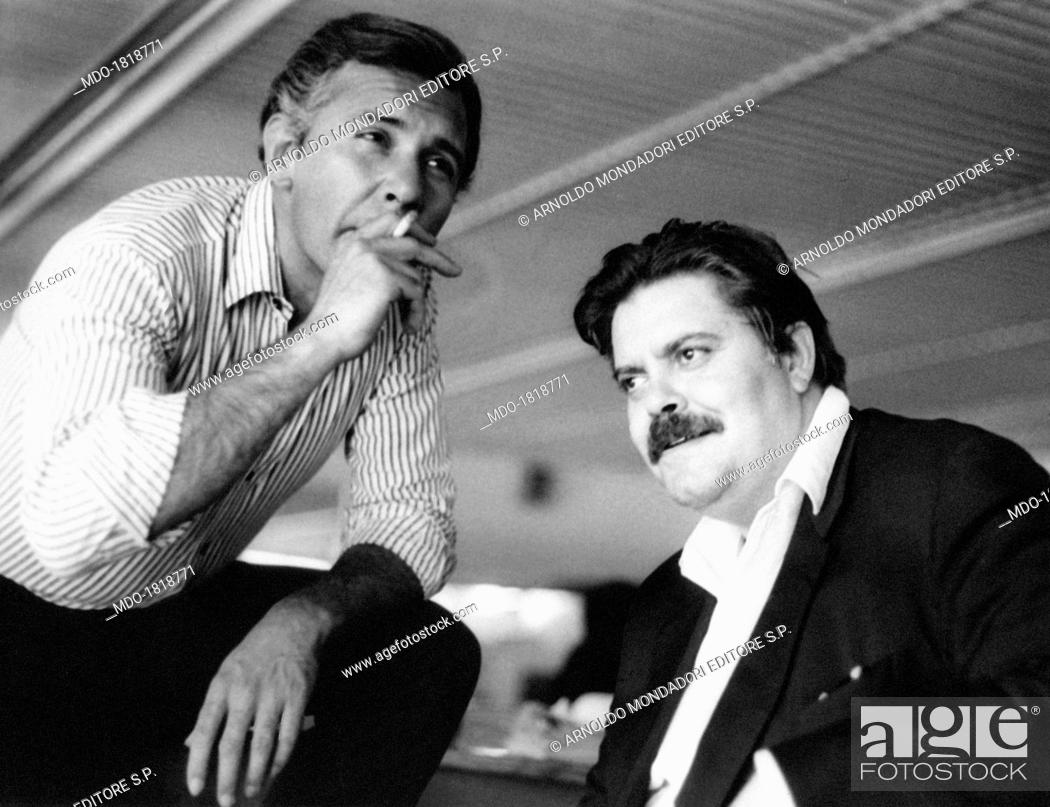 Italian Actor Paolo Ferrari Smoking A Cigarette Beside Italian Actor Tino Buazzelli On The Set Of Stock Photo Picture And Rights Managed Image Pic Mdo 1818771 Agefotostock
