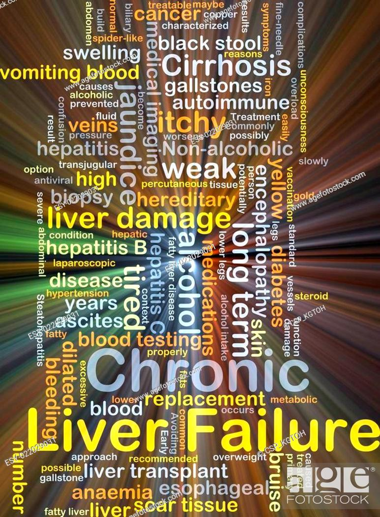 Chronic liver failure background concept glowing, Stock Photo