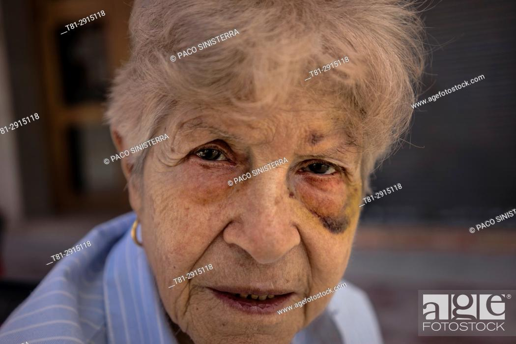 Stock Photo: Battered woman, Old woman, Spain.