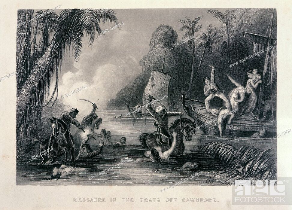 Stock Photo: Massacre in the Boats off Cawnpore. Image taken from The history of the Indian Mutiny. Originally published/produced in London.