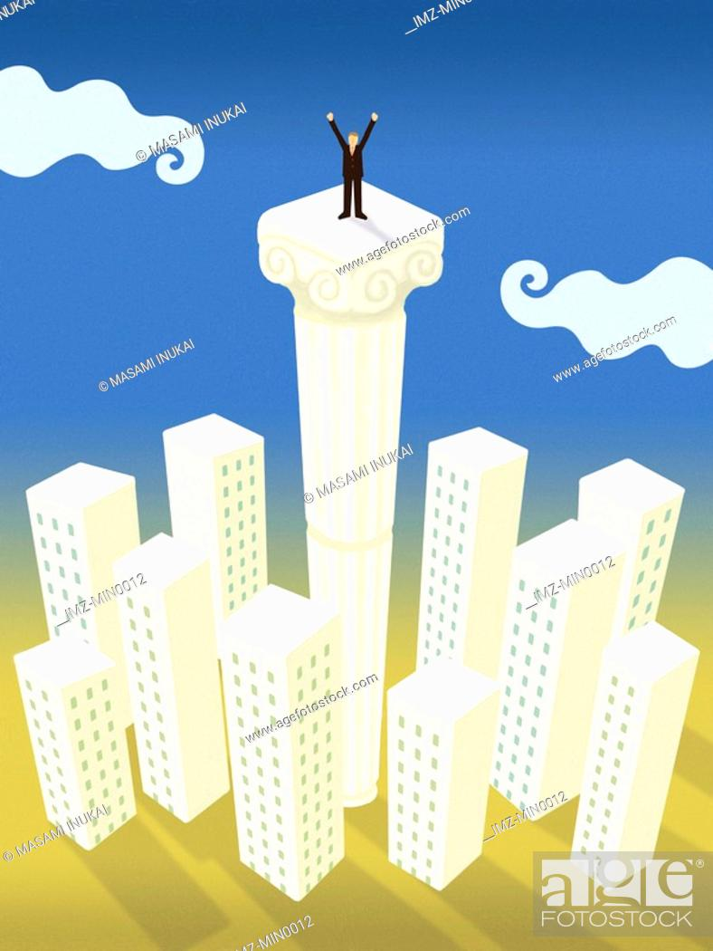 Stock Photo: A businessman standing on top of a column taller than all the buildings in a city.