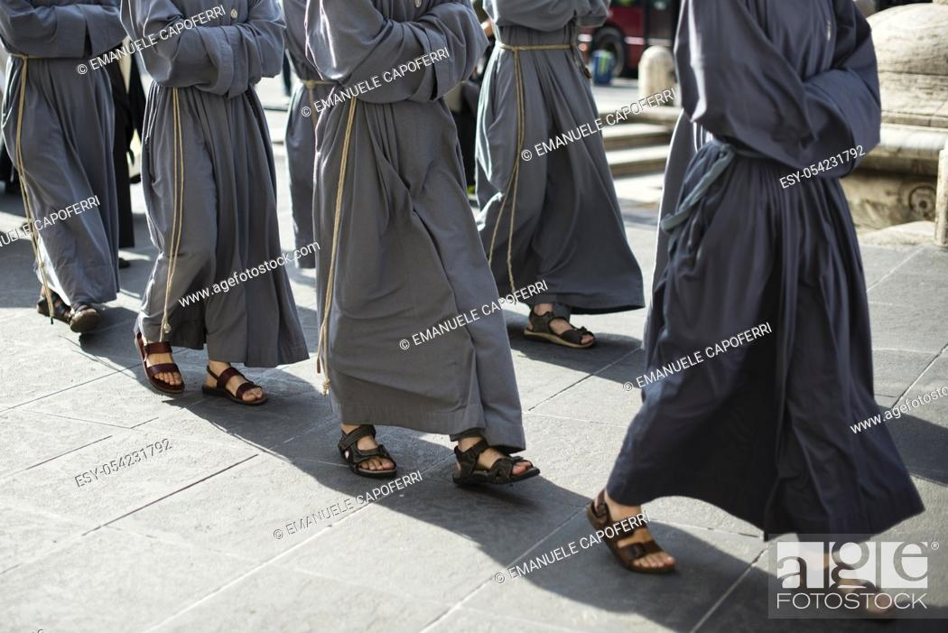 Stock Photo: Franciscan monks on a pilgrimage, Rome, Italy.