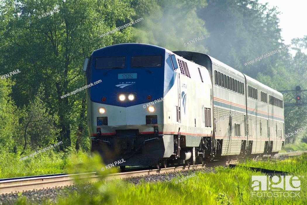 Stock Photo: Southbound Amtrak Cascades in Burnaby, BC heading south towards Seattle, Washington.