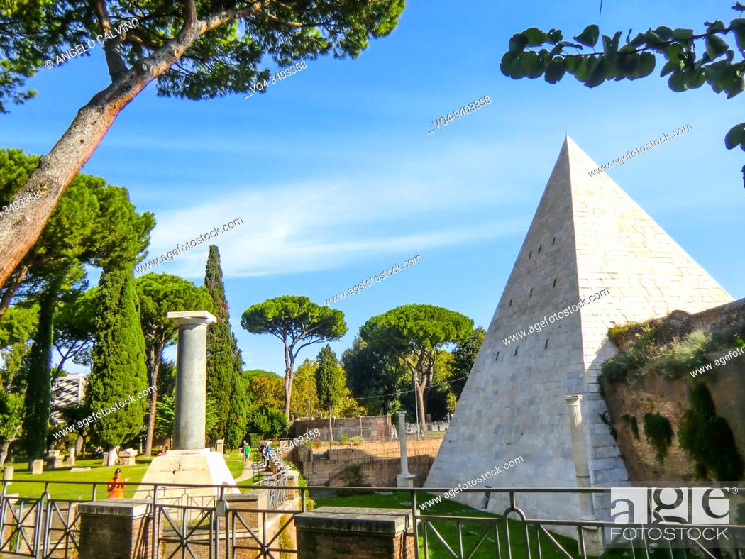 Stock Photo: Tombs in the famous Non-Catholic Cemetery, Piramide Cestia Area, Rome, Lazio, Italy. This is the final resting-place of poets, painters, sculptors and authors.
