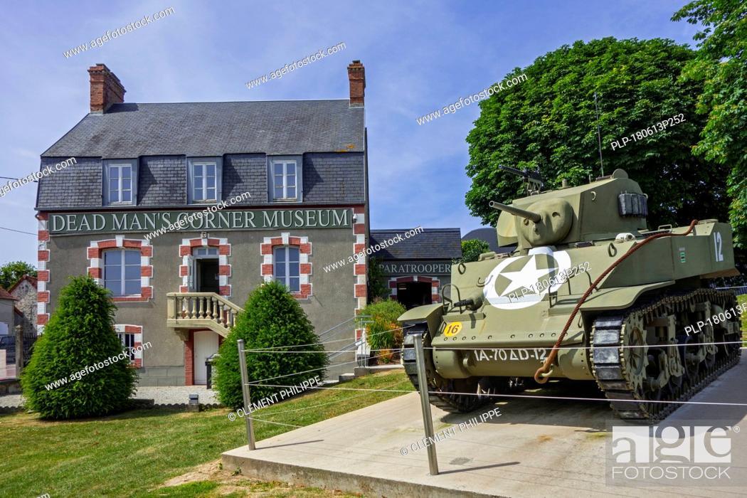 Stock Photo: American M5 Stuart Light Tank at the Dead Man's Corner museum, WW2 museum at Saint-Côme-du-Mont, Saint-Lô, Normandy, France.