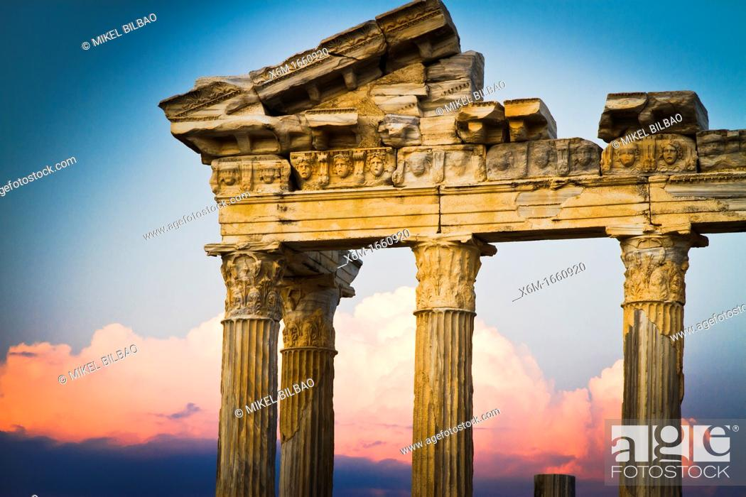 Stock Photo: Temple of Apollo at sunset  Side ancient city  Province of Antalya  Mediterranean coast  Turkey.