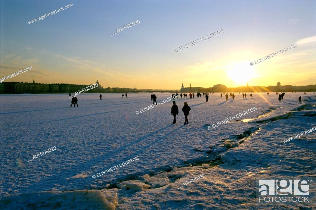Stock Photo: Russia - St Petersburg - Frozen Neva - Front of Peter and Paul Fortress.