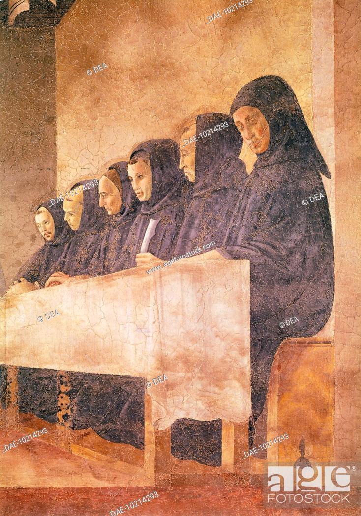 Stock Photo: Stories of St Benedict, attributed to Giovanni di Consalvo (active ca 1436-1439), fresco. Detail. Badia Fiorentina, Cloister of the Oranges (Chiostro degli.
