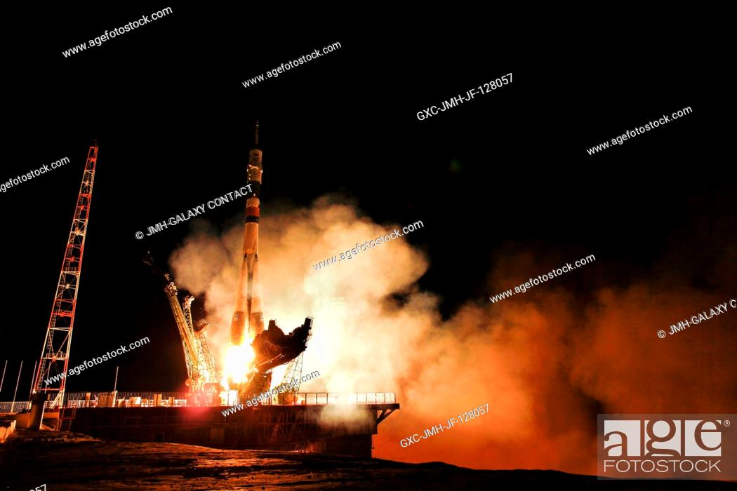 Stock Photo: The Soyuz TMA-02M spacecraft launches from the Baikonur Cosmodrome in Kazakhstan early June 8, 2011 (Kazakhstan time) carrying cosmonaut and Expedition 28 Soyuz.