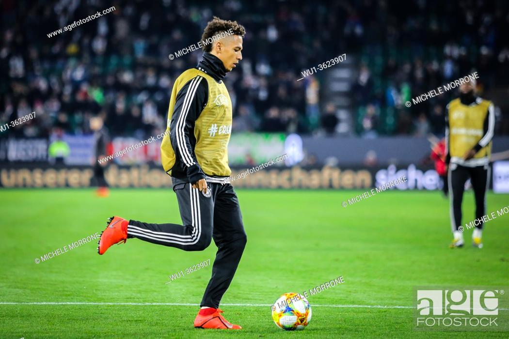 Stock Photo: Wolfsburg, Germany, March 20, 2019: Thilo Kehrer in action during the warm-up session before the soccer match between Germany and Serbia.
