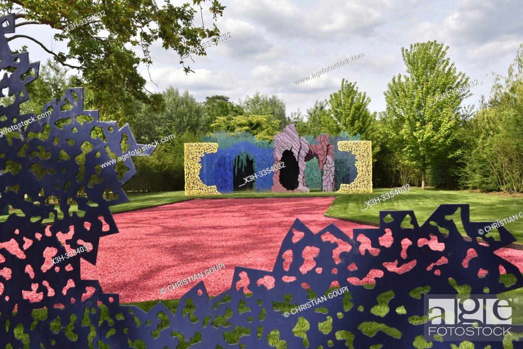 """Stock Photo: """""""""""""""""""" Le Jardin des Hypothese"""""""", jardin par Bernard Lassus, Pres du Goualoup, Domaine de Chaumont-sur-Loire, departement Loir-et-Cher."""