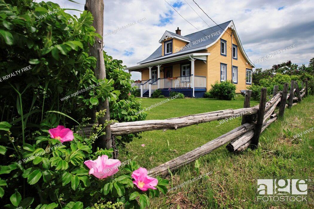 Stock Photo: View of colorful house, Bas-Saint-Laurent region, Quebec, Canada.