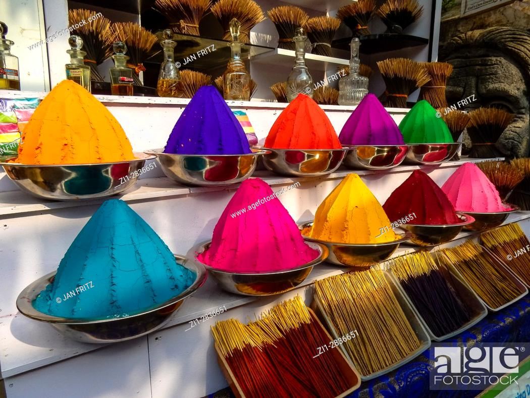 Stock Photo: colourful powders at market in kochi, kerala, india.