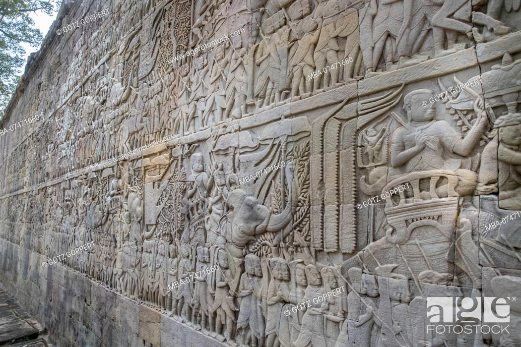 Stock Photo: Siem Reap, Angkor, Temple Bayon, wonderful wall reliefs tell the story.