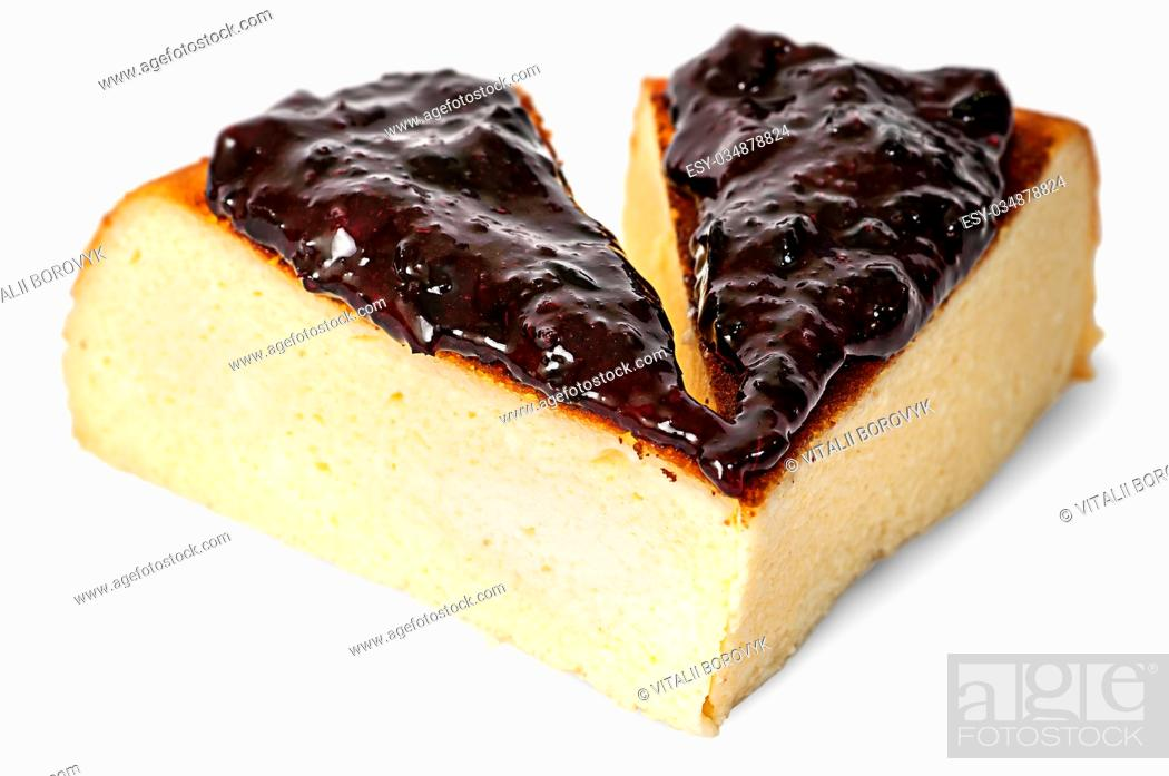 Stock Photo: Two pieces of cheese casseroles with currant jam isolated on white background.