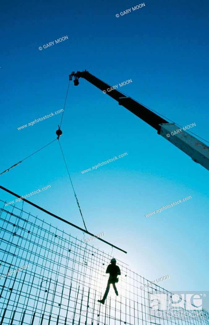 Stock Photo: Building rebar grid for concrete wall. I-880 Cypress project. Oakland, California. USA.