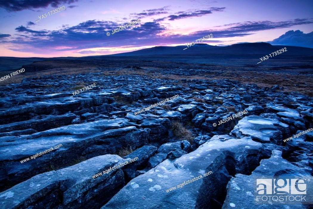 Stock Photo: England, North Yorkshire, Yorkshire Dales National Park  Limestone pavement known as Moughton Scars, near the small village of Horton in Ribblesdale.