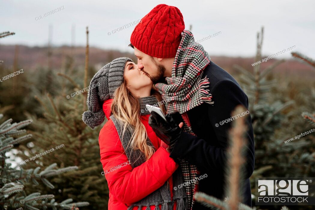 Imagen: Romantic young couple kissing while shopping for christmas tree from forest.