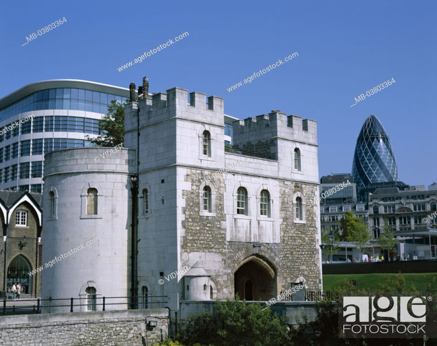 Stock Photo: Great Britain, England, London,  Tower, detail, Middle Gate, buildings,  Architecture, old, again, Swiss Re tower  Europe, island, city, capital.