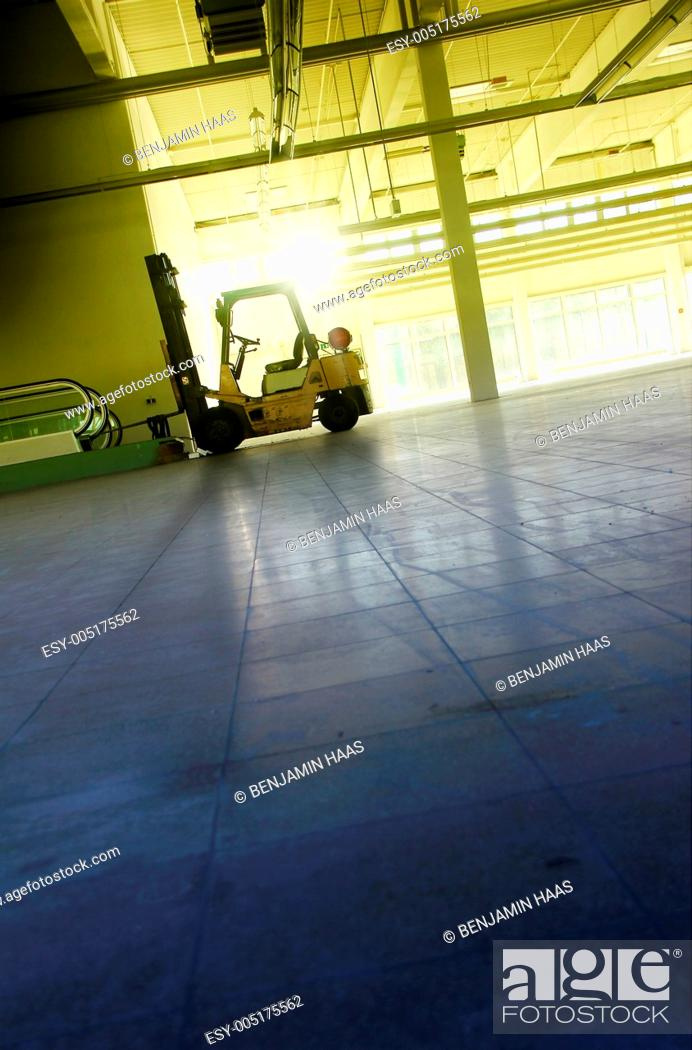 Stock Photo: hall with forklift.