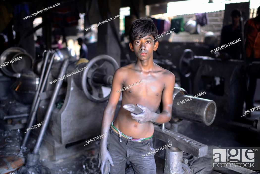 Portrait A Bnagladeshi Child Labor Who Work In A Silver Cooking