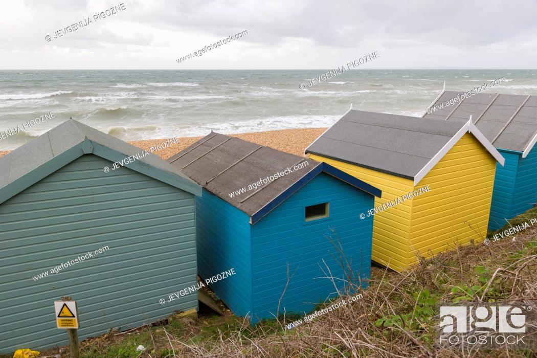 Stock Photo: Sea coast with beach huts, Milford on Sea, Hampshire, South England, UK.