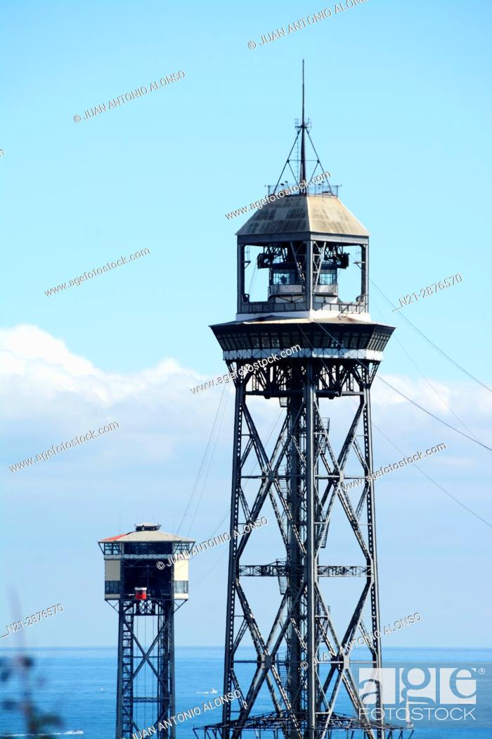 Stock Photo: Torre de Jaume I and, behind, the Torre de San Sebastian, two of the stops of the cable car from the harbour to Montjuic. Barcelona.