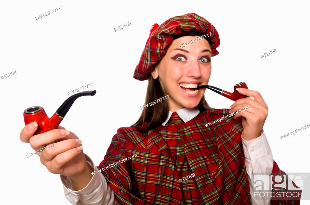 Photo de stock: Scottish woman isolated on the white background.