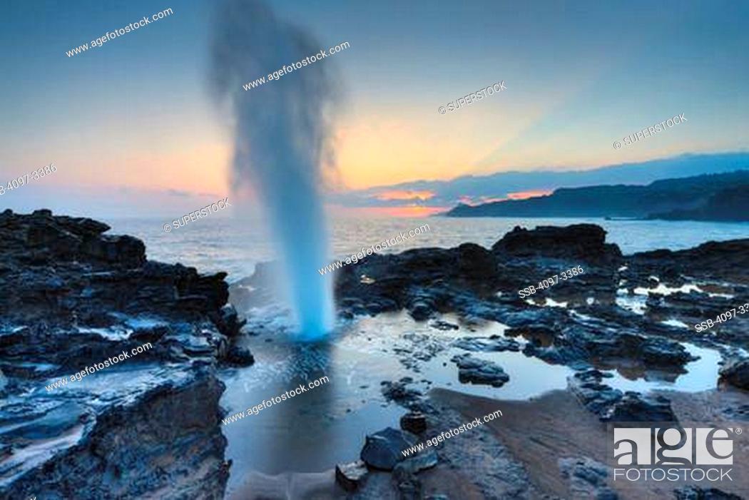 Stock Photo: Blow hole on the coast, Nakalele Blowhole, Poelua Bay, Hawea Point, Maui, Hawaii, USA.