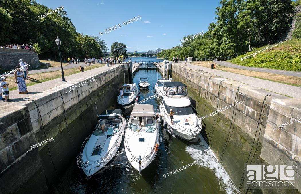 Stock Photo: Lock Stations at Rideau Canal Waterway, Ottawa, Canada.