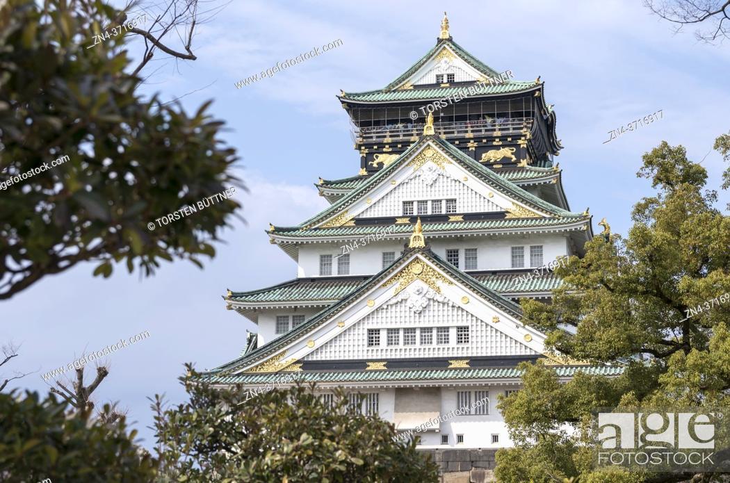 Stock Photo: View on Osaka Castle, Osaka, Japan.