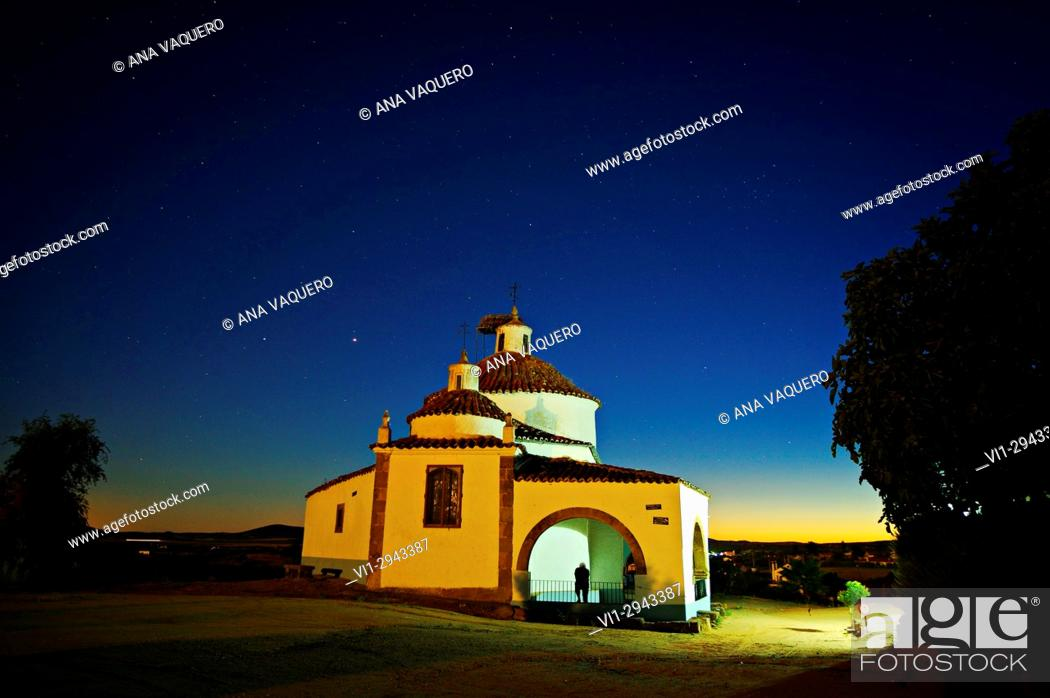 Stock Photo: Night Photography, Hermitage San Bartolomé, Miajadas, Caceres, Extremadura.