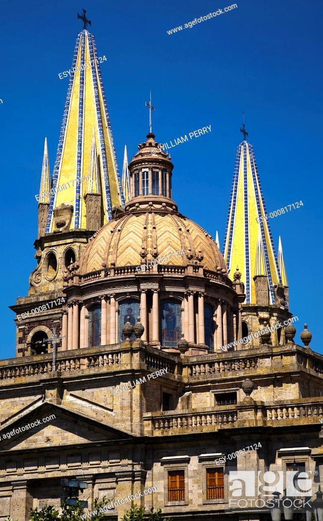 Stock Photo: Metropolitan Cathedral, Templo de Santa Maria de Gracia, Guadalajara, Mexico.