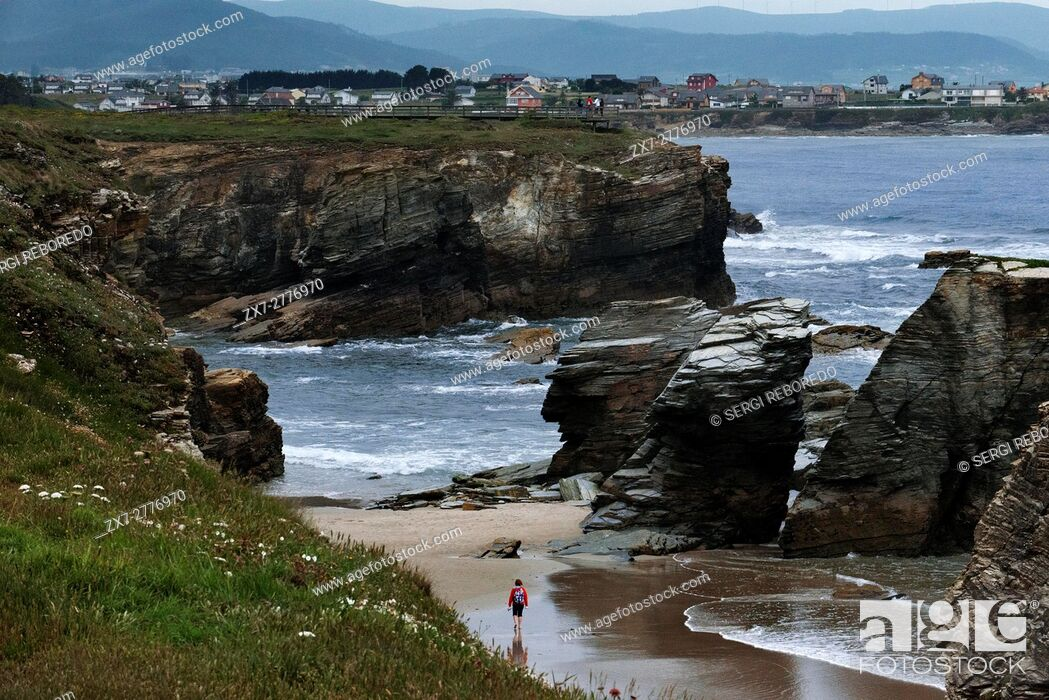 Stock Photo: Beach of the Cathedrals in Ribadeo, Galicia, Spain. One of the stops of the Transcantabrico Gran Lujo luxury train.
