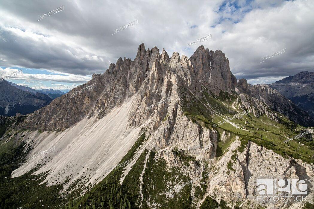 Stock Photo: Dolomite peaks of Cadini seen from the helicopter. Cortina d'Ampezzo. Dolomites. Veneto. Italy. Europe.