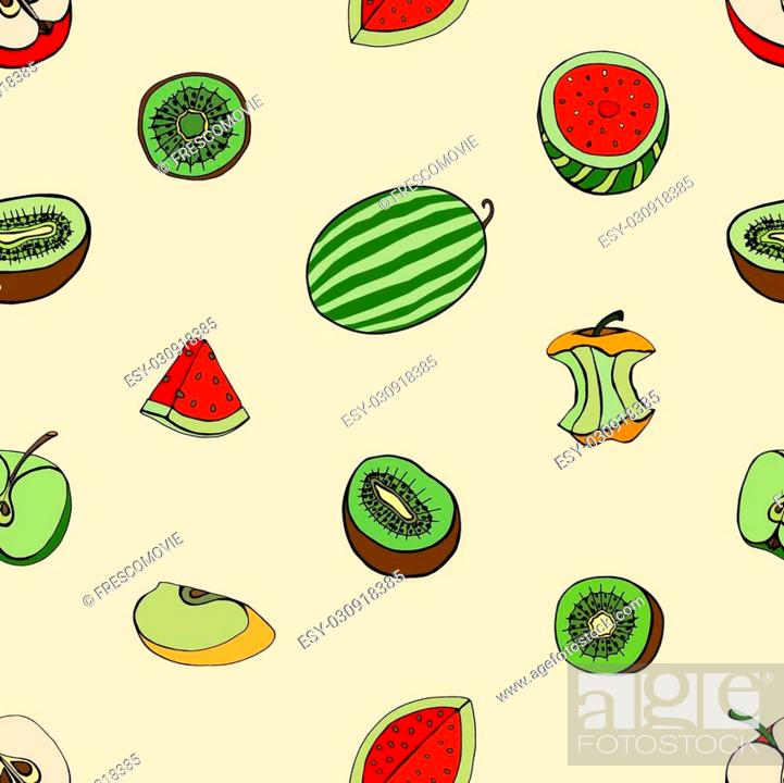 Stock Vector: Vector Seamless Pattern of Sketch Fruits background.