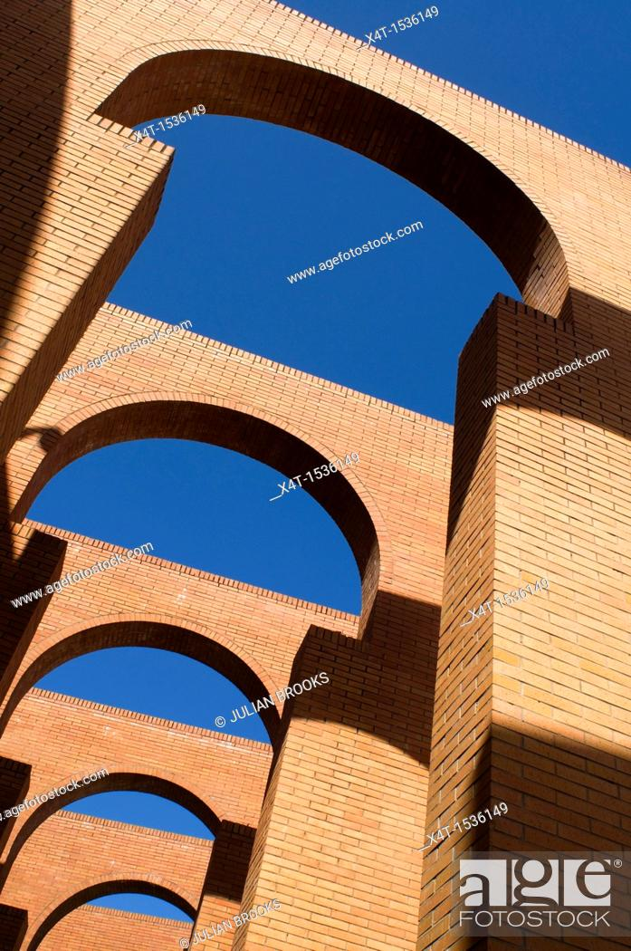 Stock Photo: Arches detail, FIBES conference centre, Seville Spain  Red bricks and blue sky.