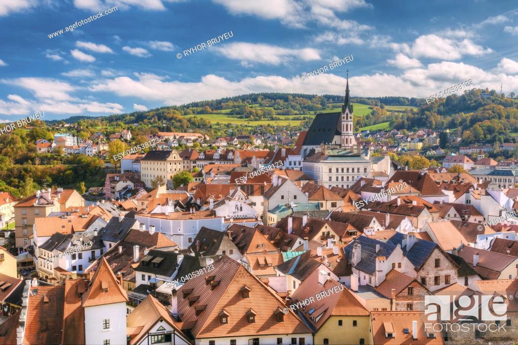 Stock Photo: St. Vitus Church and cityscape Cesky Krumlov, Czech republic. Sunny autumn day. UNESCO World Heritage Site.