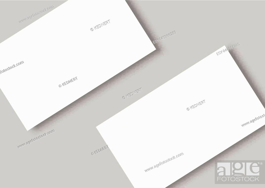 Stock Vector: Blank business card with shadow mockup cover template.